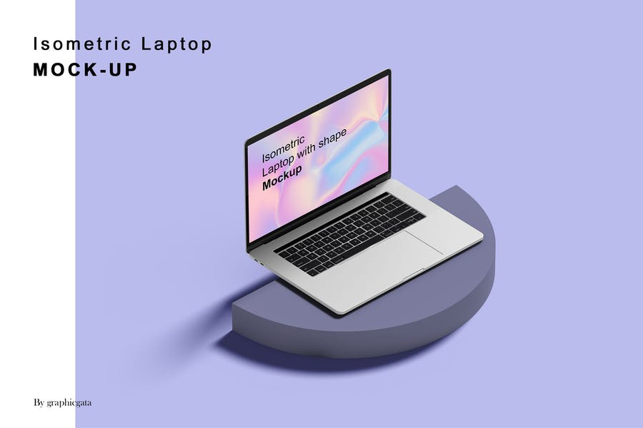 Isometric Laptop Screen Mockup
