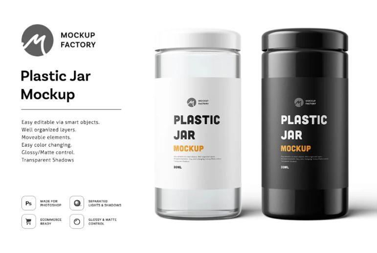 Large Plastic Jar Label Mockups