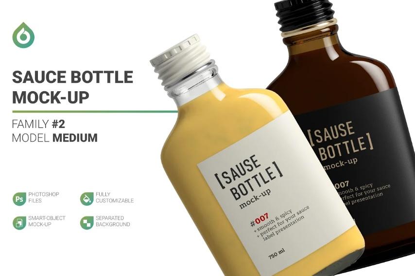 Large Sauce Bottle Mockups