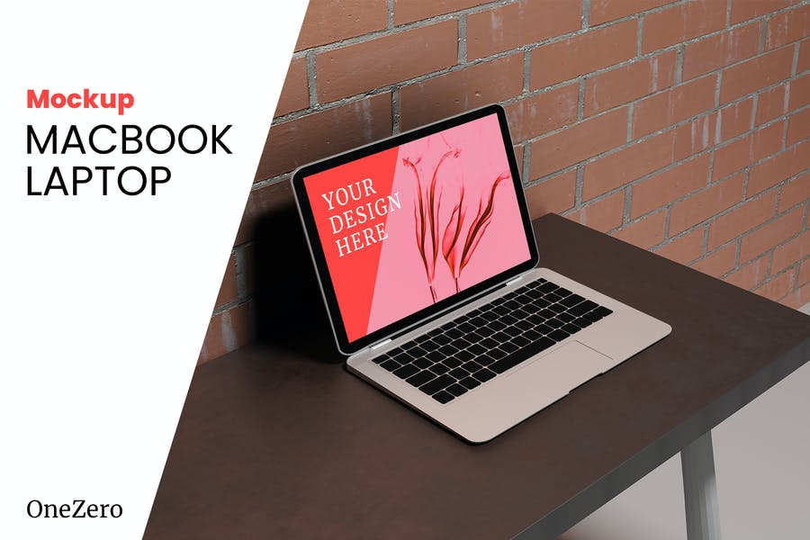 MacBook Laptop on Desk Mockup