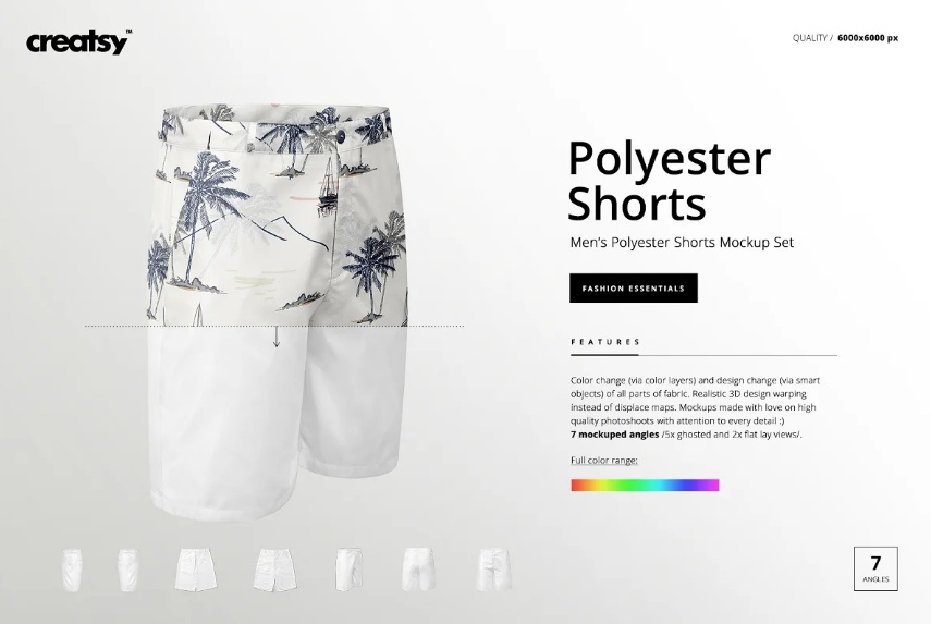 Mens Polyester Short Mockup