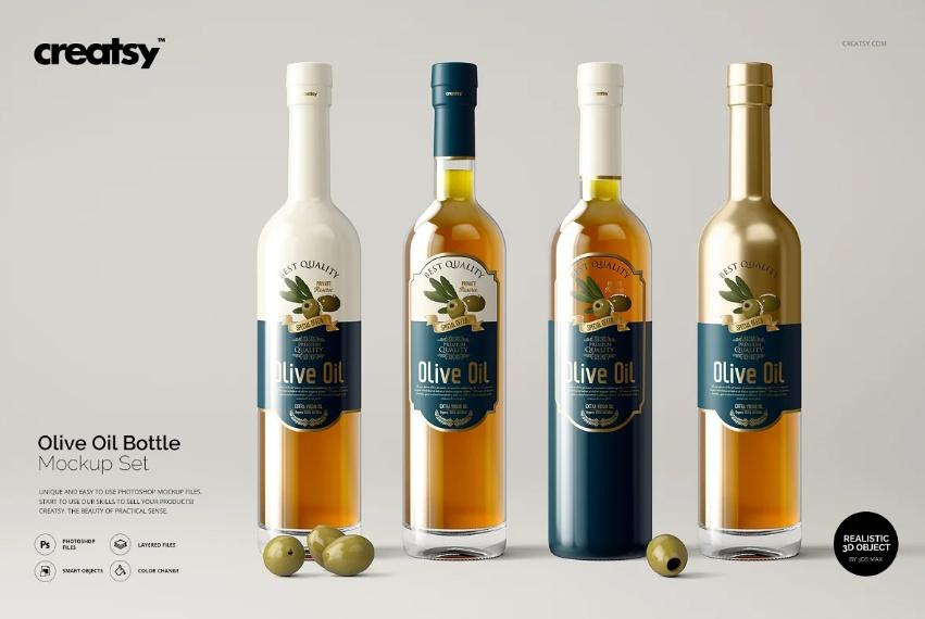 Olive Oil Bottle Mockups Set