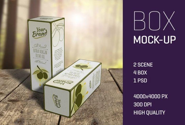 Olive Oil Box Mockup PSD