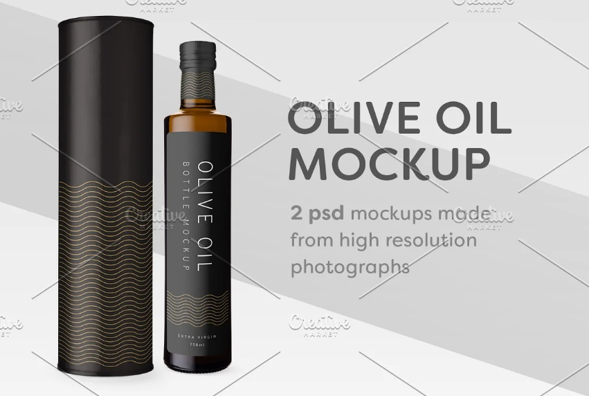 Olive Oil Packaging Mockup PSD