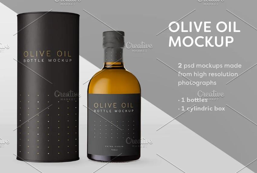 Olive Oil and Box Mockup