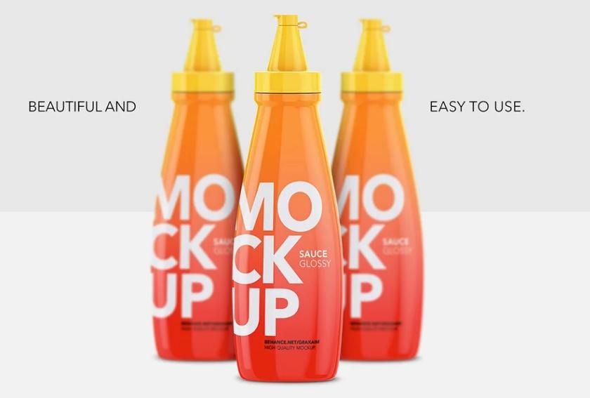 Photorealistic Sauce Bottle Mockups