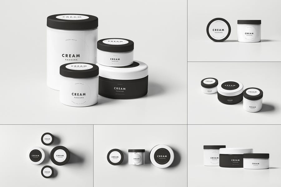 Plastic Cosmetics Jar Mockups