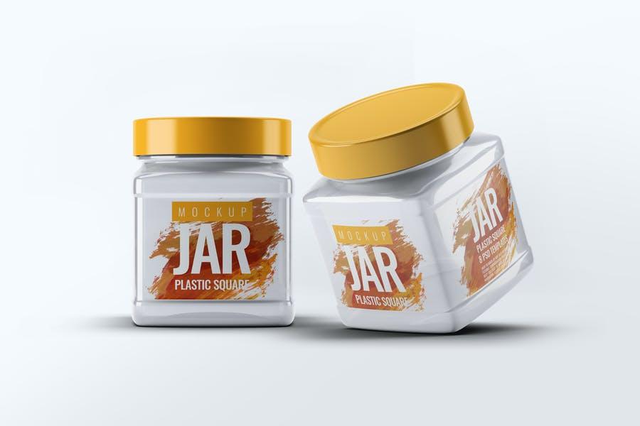 Plastic Square Jar Mockups