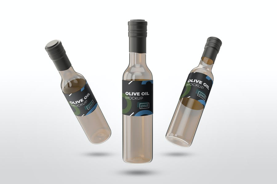 Realistic Olive Oil Label Mockups
