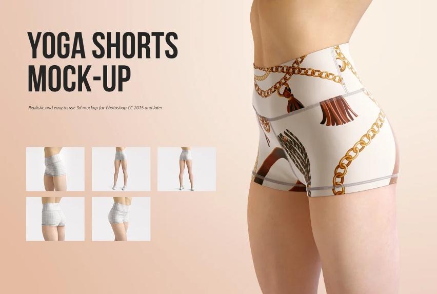 Realistic Yoga Shorts PSD Mockup