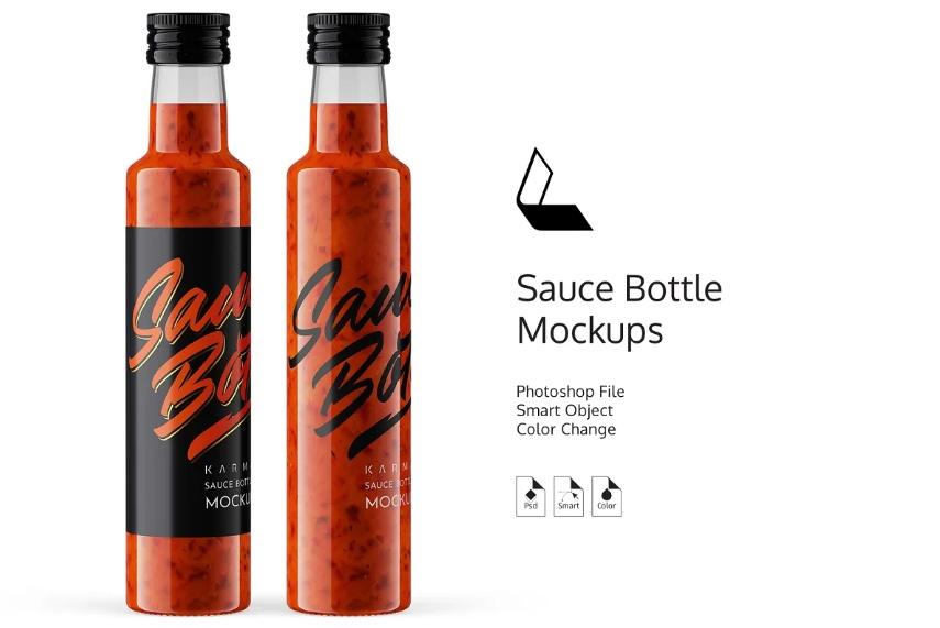 Red Sauce Bottle PSD Mockups