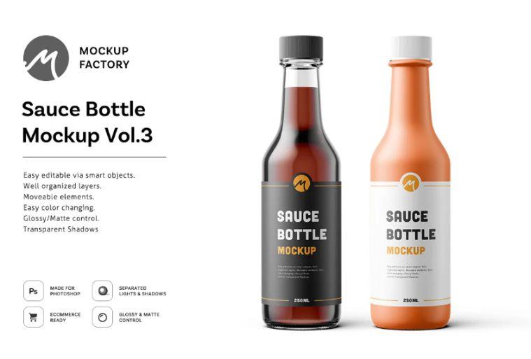 Sauce Bottle Branding Mockups