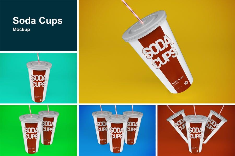 Soda Cups Mockup PSD