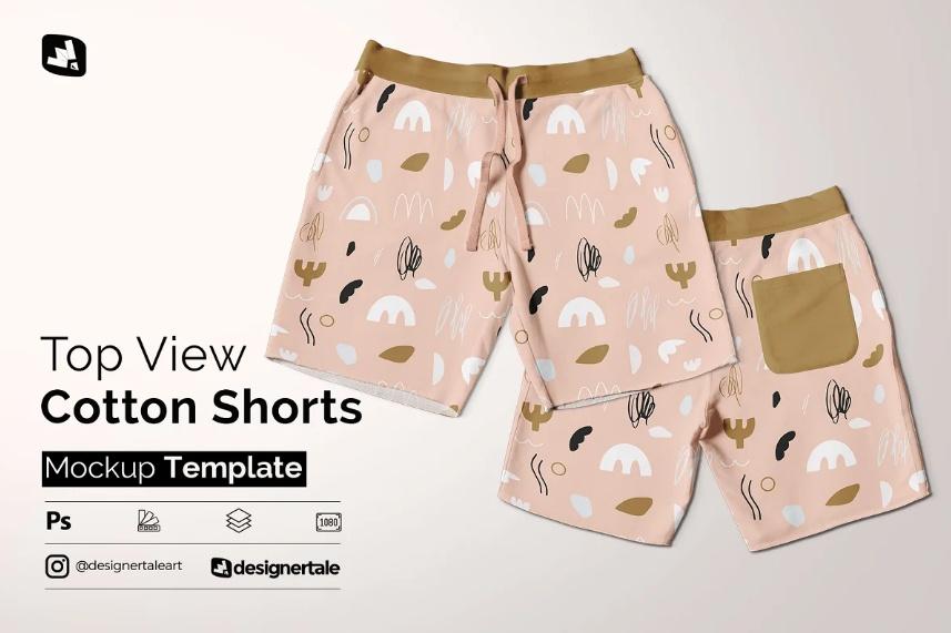 Top View Shorts PSD Mockup
