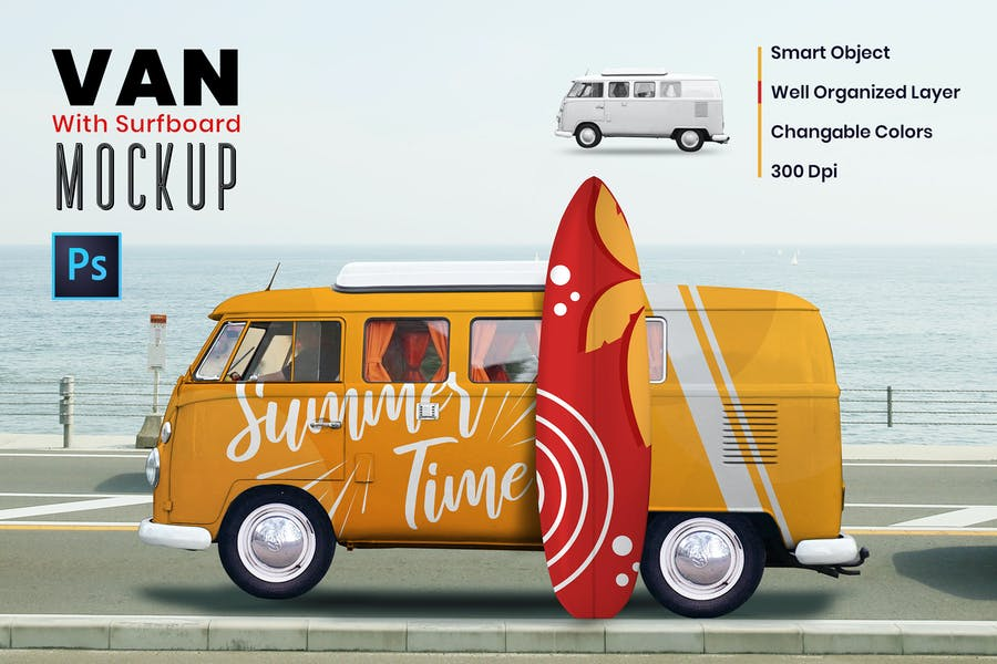 Van With Surfboard Mockups