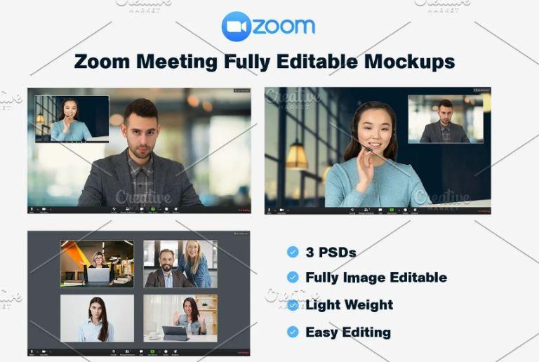 Zoom Meeting Mockup PSD