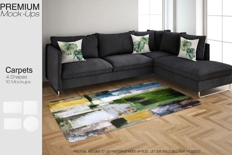 16 Carpets in Living Room Photoshop Mockup