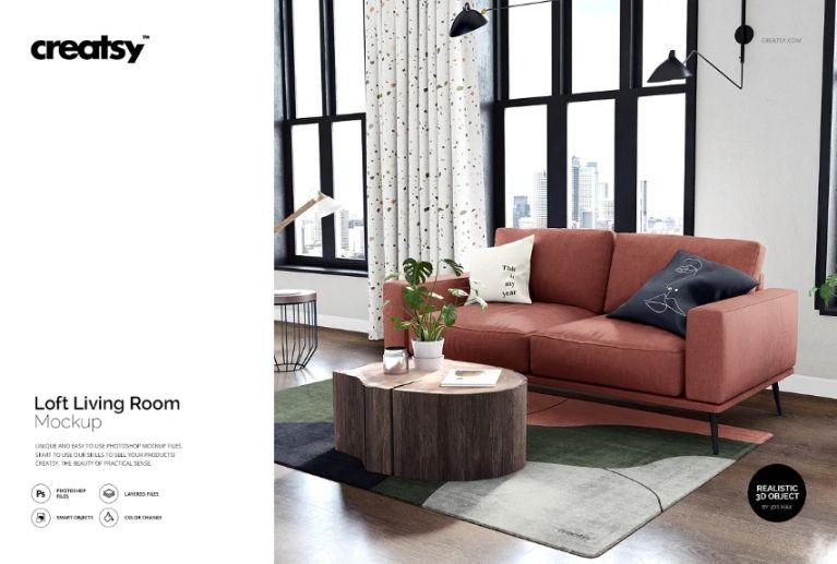 3D Living Room Design Presentation Mockup