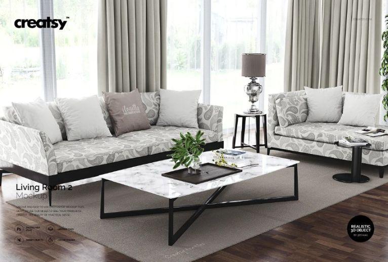 3D Living Room PSD Mockup