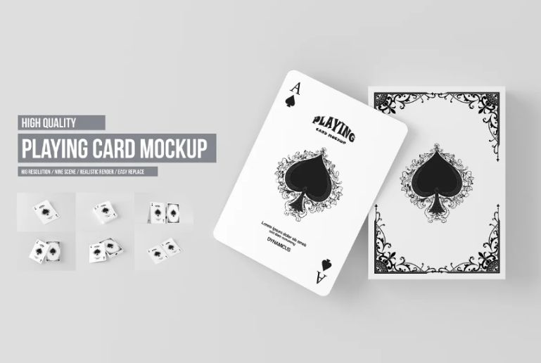3D Playing Cards Mockup PSD