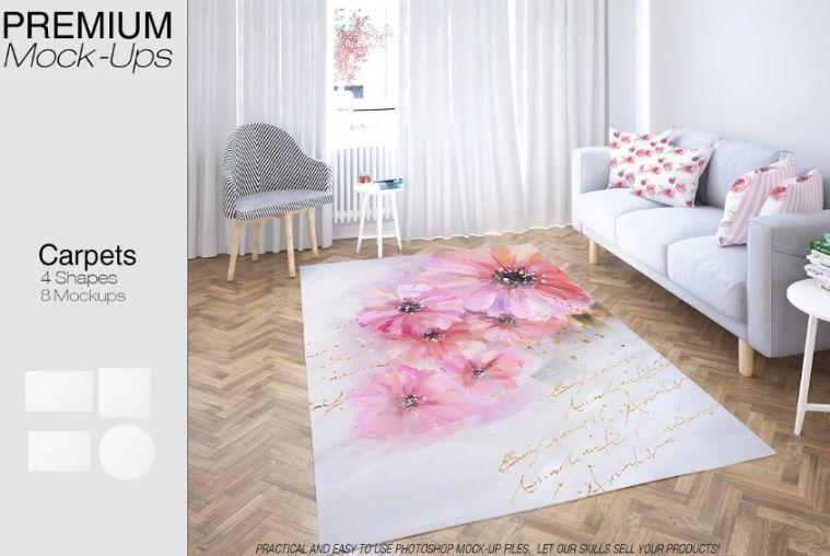 4 Carpets in Living Room Mockup PSD