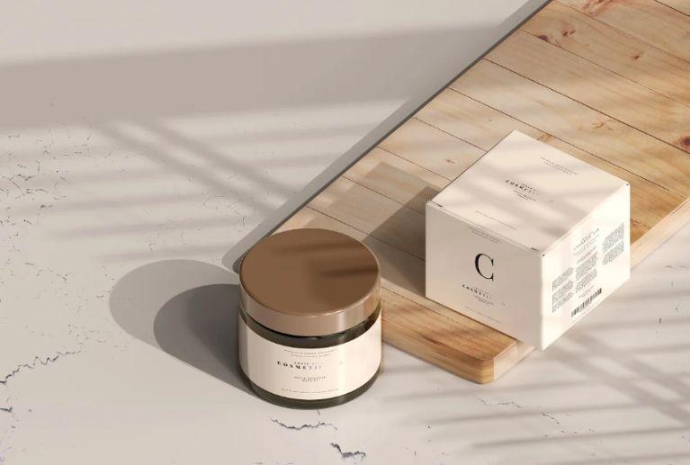 Amber Cream Jar Branding Mockup