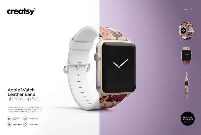 Apple Watch Leather Band Mockups