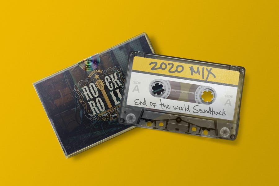 Cassette Sticker Mockup PSD