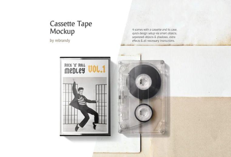 Cassette Tape Mockup PSD