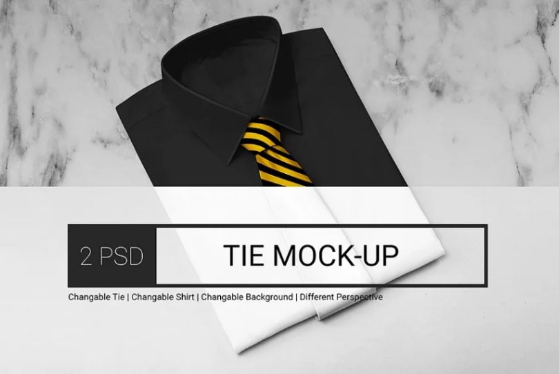 Classic Tie and Shirt Mockup PSD