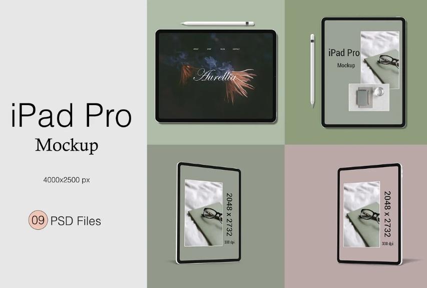 Clean iPad Pro Mockups PSD