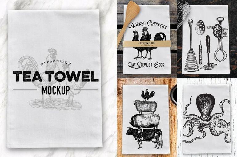 Creative Tea Towel Mockup PSD