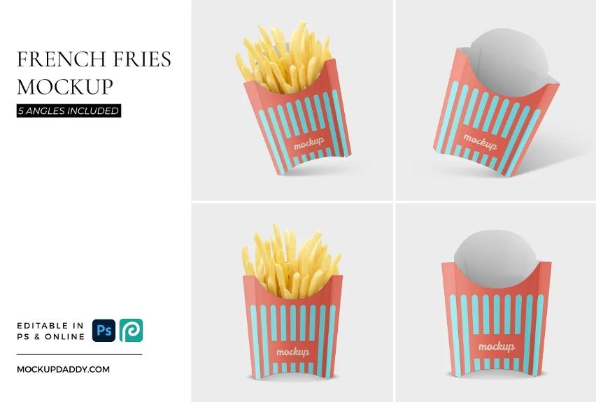Editable French Fries Branding Mockup