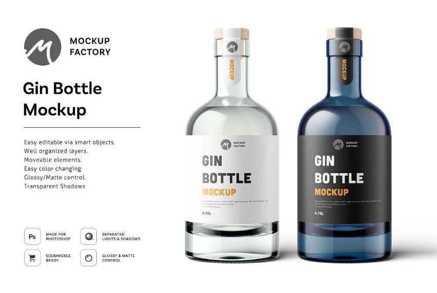 Editable Glass Gin Bottle Mockups