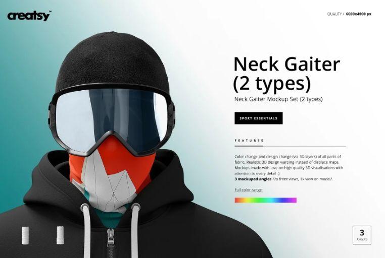 Editable Neck Gaiter Mockups