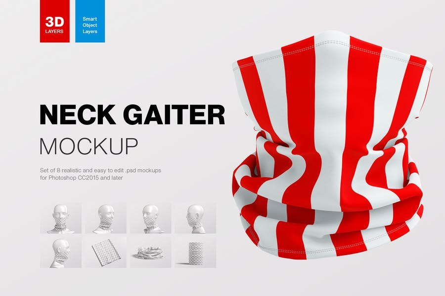 Editable Neck Gaiter PSD Mockups