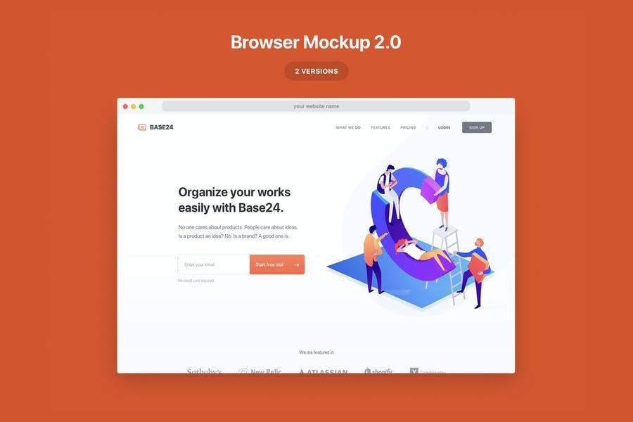 Editable Website Browser Mockup pSD