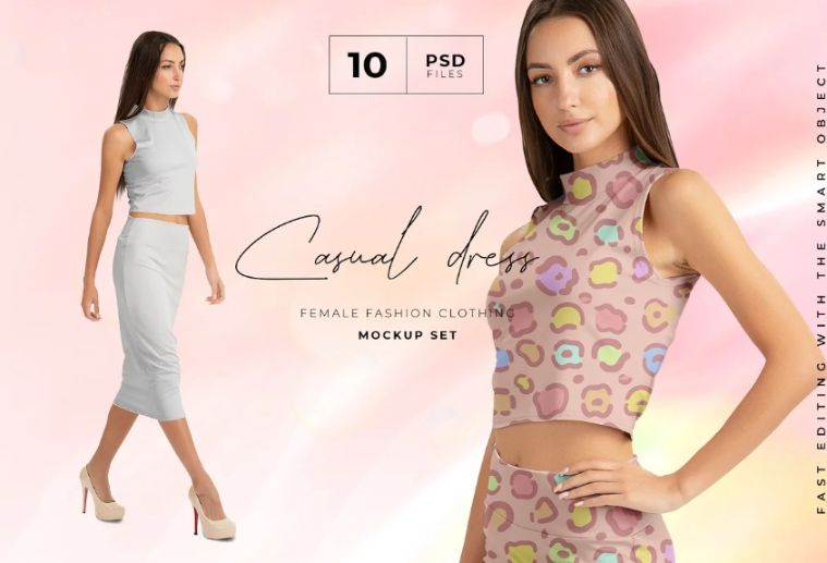 Female Skirt Suit Mockup PSD