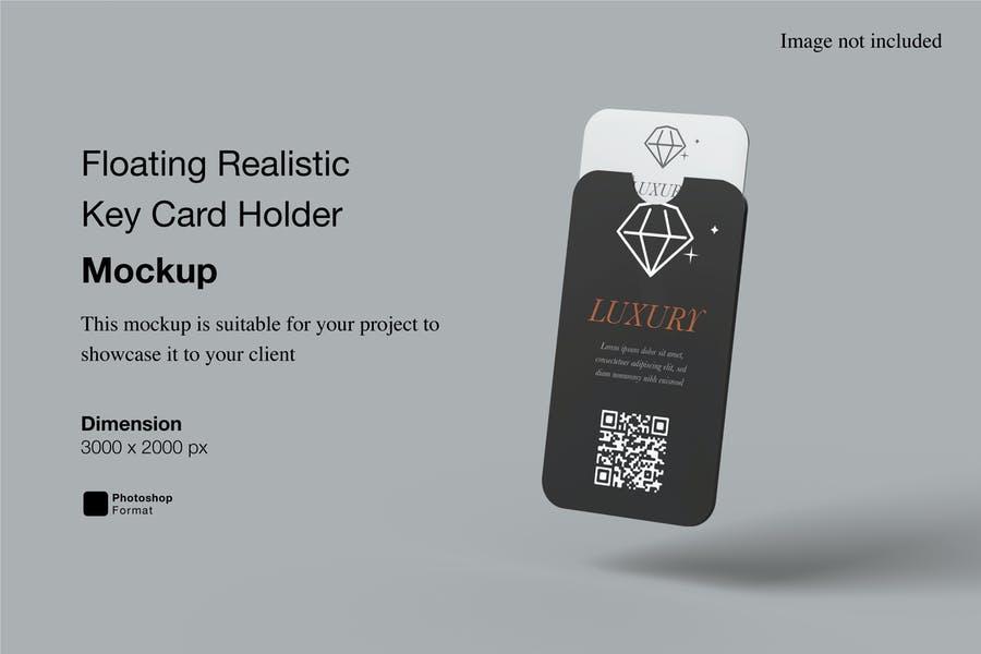 Floating Key Card Holder Mockup