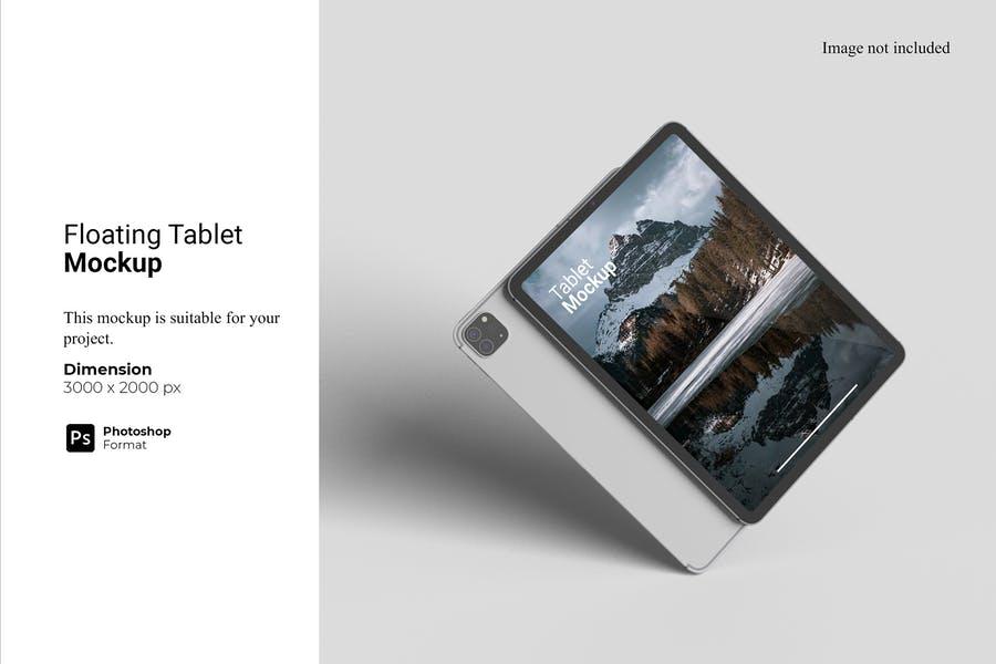 Floating Tablet PSD Mockup