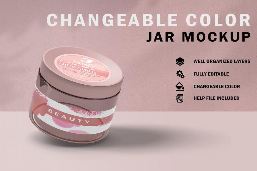 Fully Editable Cream Jar Mockup