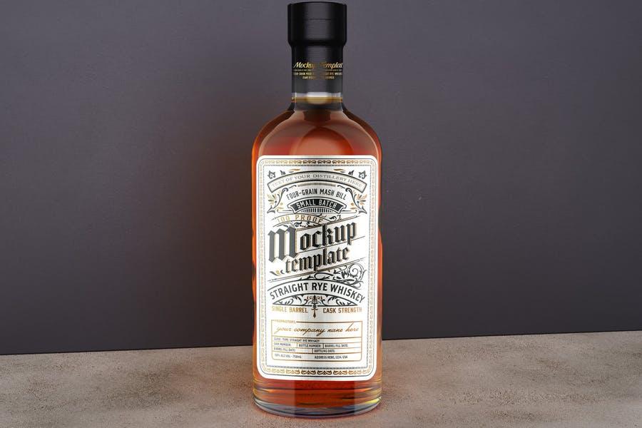 Glass Whiskey Bottle Mockup PSD