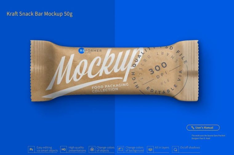 Granola Snack Bar Mockup PSD
