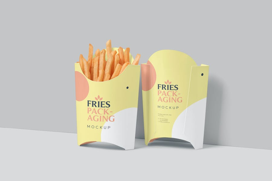 High Quality Fries Packaging Mockup PSD