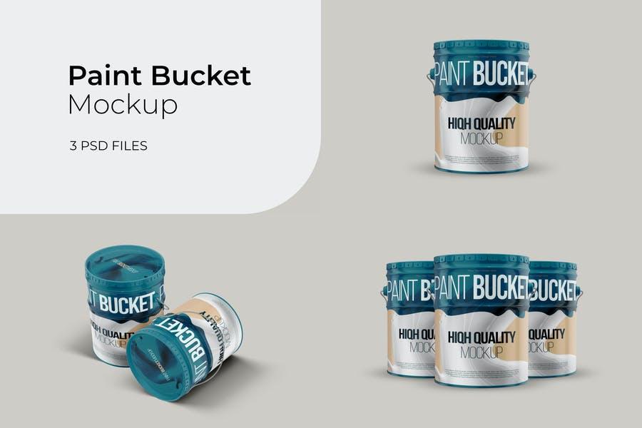 High Quality Paint Buckets Mockup PSD
