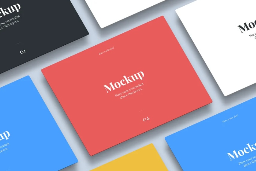 Isometric Tablet App Mockup PSD
