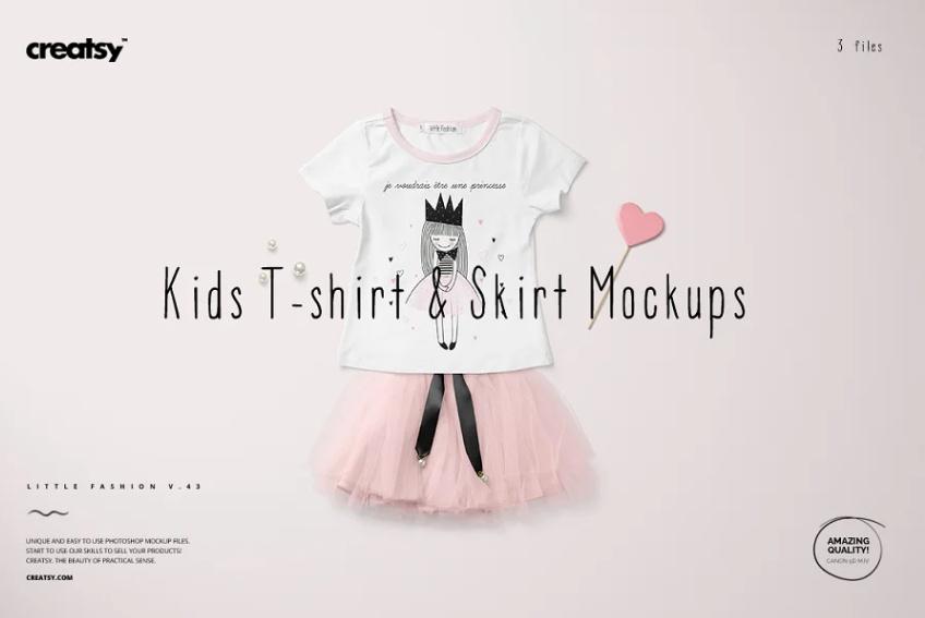Kids T Shirt and Skirt Mockup