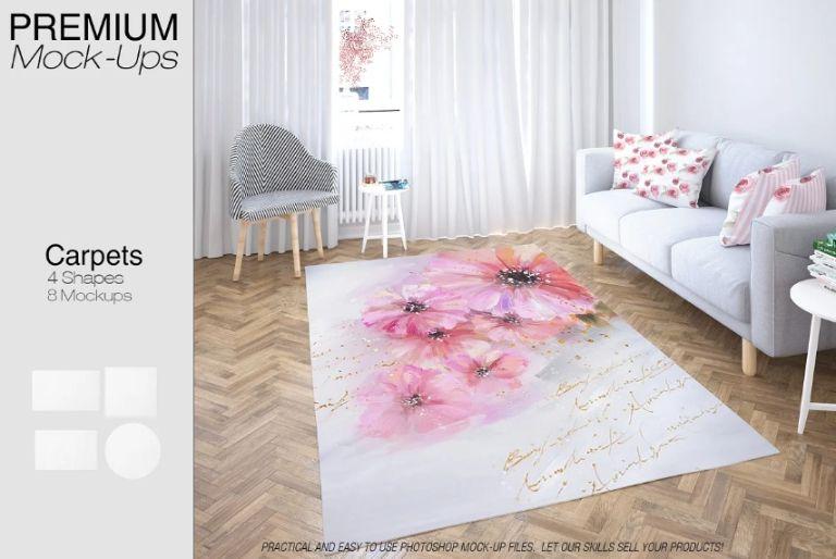 Living Room Fabric Mockup PSD