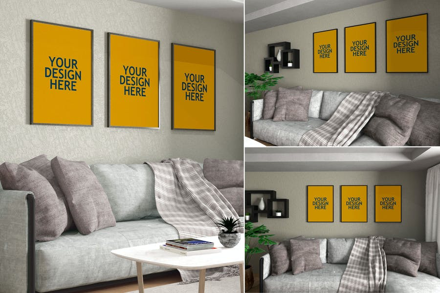 Living Room Frames Mockup PSD