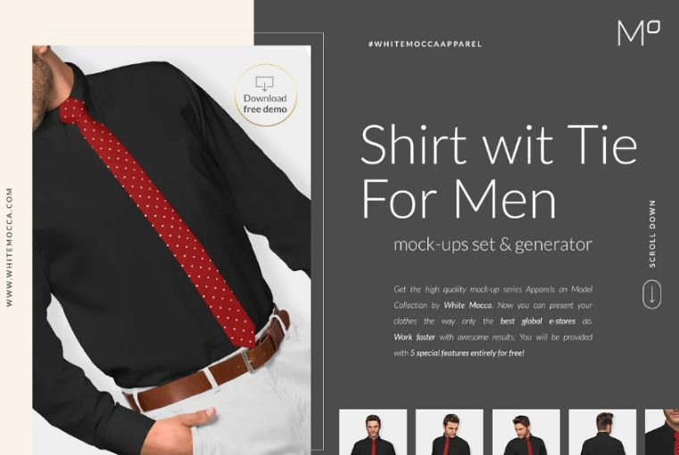 Mens Shirt With Tie Mockup